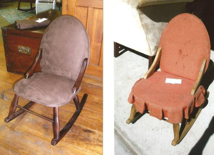 Refinished and reupholstered child's rocker