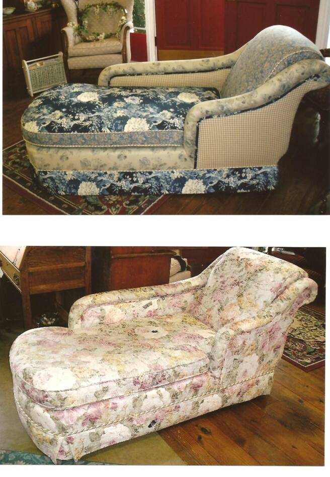 Reupholstered chaise lounge from floral to multiiple fabrics in blue
