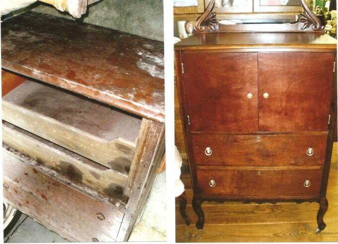 mahogany dresser w/water damage, had been stored 10 yrs